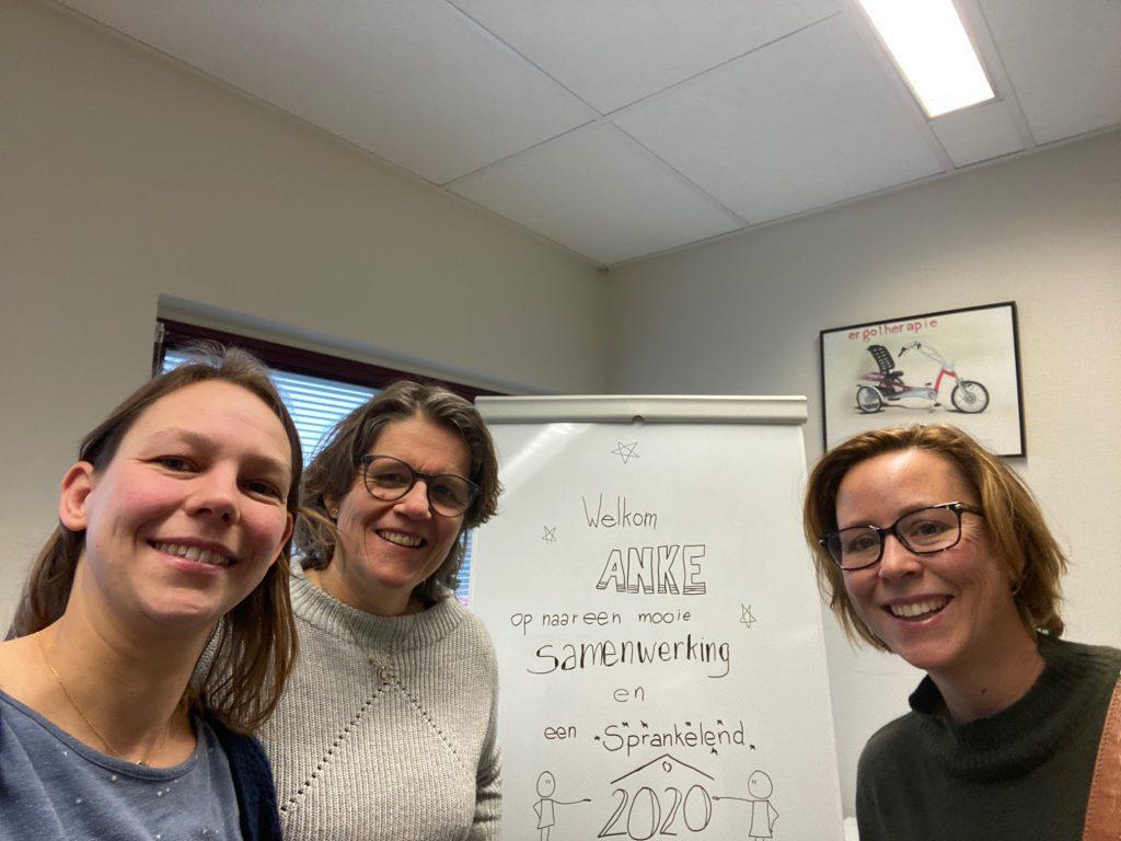 teamfoto met ergotherapeuten Eveline Span, Monique Veltman en Anke Korf